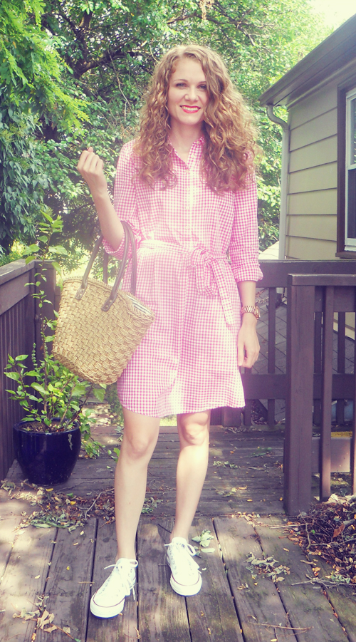 Gingham Dress with Chuck Taylors