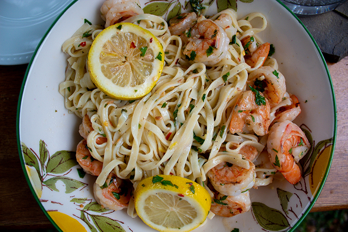 This image has an empty alt attribute; its file name is shrimp-scampi-linguine-wp.jpg